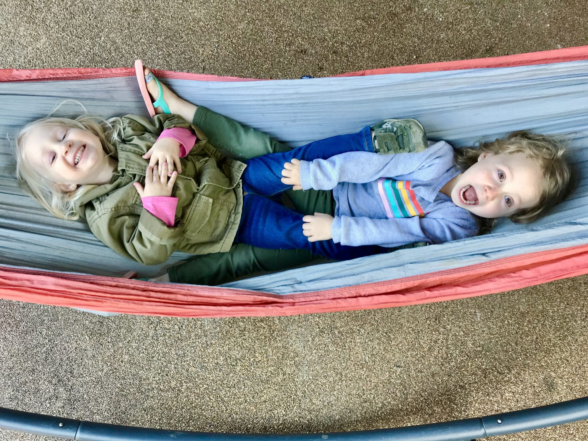 Girls swinging in the hammock